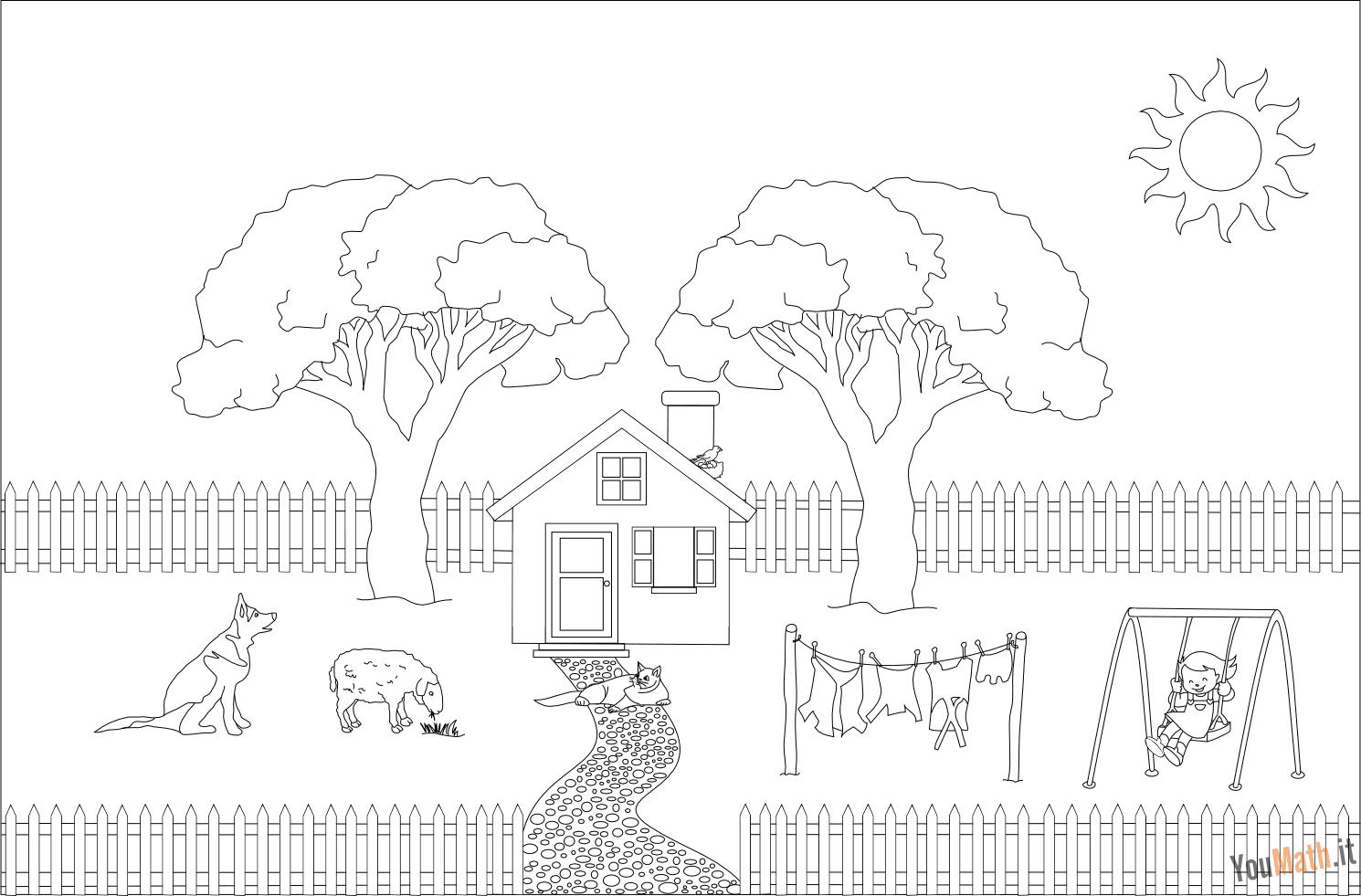 Il giardino e degli alberi da colorare for Disegno della casa di architettura